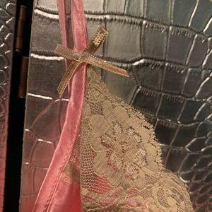 Intimates & Sleepwear - Pink Satin Camis with beige eyelash lace Pretty!